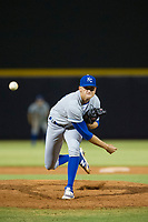 AZL Royals relief pitcher Daniel Garmendia (26) follows through on his delivery against the AZL Mariners on July 29, 2017 at Peoria Stadium in Peoria, Arizona. AZL Royals defeated the AZL Mariners 11-4. (Zachary Lucy/Four Seam Images)