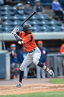 Bowling Green Hot Rods second baseman Osmy Gregorio (3) at bat against the West Michigan Whitecaps on May 21, 2019 at Fifth Third Ballpark in Grand Rapids, Michigan. The Whitecaps defeated the Hot Rods 4-3.  (Andrew Woolley/Four Seam Images)