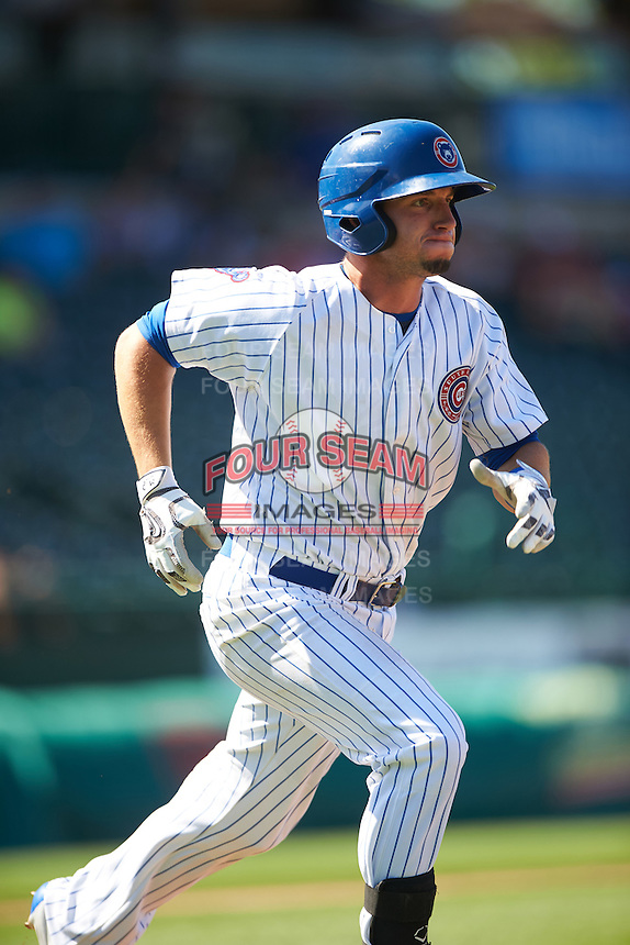 South Bend Cubs first baseman Alberto Mineo (47) runs to first base during the second game of a doubleheader against the Peoria Chiefs on July 25, 2016 at Four Winds Field in South Bend, Indiana.  South Bend defeated Peoria 9-2.  (Mike Janes/Four Seam Images)