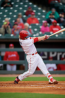Louisville Bats third baseman Brandon Dixon (7) bats during a game against the Columbus Clippers on May 1, 2017 at Louisville Slugger Field in Louisville, Kentucky.  Columbus defeated Louisville 6-1  (Mike Janes/Four Seam Images)