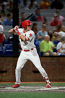 Johnson City Cardinals right fielder Kevin Woodall (34) at bat during a game against the Danville Braves on July 28, 2018 at TVA Credit Union Ballpark in Johnson City, Tennessee.  Danville defeated Johnson City 7-4.  (Mike Janes/Four Seam Images)