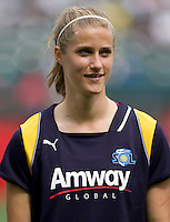LA Sol defender Allison Faullk. The LA Sol defeated the Washington Freedom 2-0 in the opening game of Womens Professional Soccer at Home Depot Center stadium on Sunday March 29, 2009.  .Photo by Michael Janosz