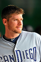 29 May 2011: San Diego Padres infielder Chase Headley waits for the start of play in the dugout prior to a game against the Washington Nationals at Nationals Park in Washington, District of Columbia. The Padres defeated the Nationals 5-4 to take the rubber match of their 3-game series. Mandatory Credit: Ed Wolfstein Photo