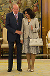 03.07.2012. King Juan Carlos I of Spain attends the Dominican Republic's President Leonel Fernandez and his wife Margarita Cedeño in the Zarzuela Palace. In the image Juan Carlos I de Borbon and Margarita Cedeño  (Alterphotos/Marta Gonzalez)