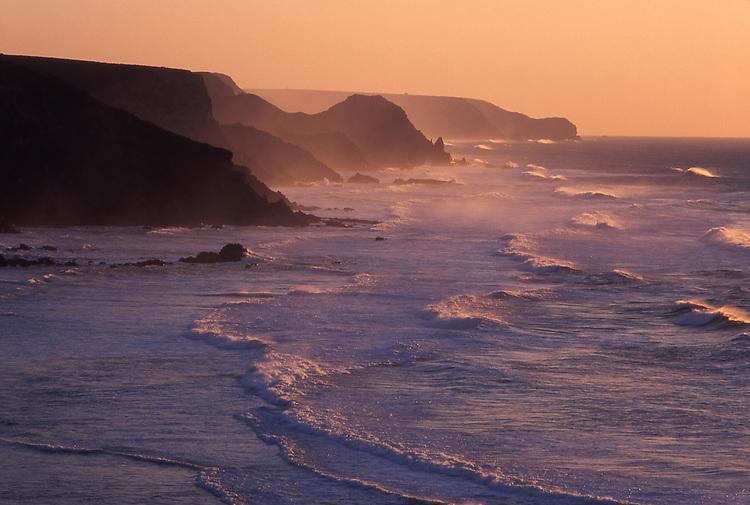 Europe, PRT, Portugal, Algarve, Southwest coast, Typical Coastline at Twilight, Waves