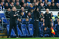 Manchester City manager Pep Guardiola protests against a disallowed goal during the Fly Emirates FA Cup Fourth Round match between Cardiff City and Manchester City at the Cardiff City Stadium, Wales, UK. Sunday 28 January 2018