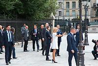 July 13 2017, PARIS FRANCE Brigitte Macron<br /> and Melania Trump visit the Cathedral of<br /> Notre Dame de Paris on Parvis Notre-Dame-Pl . Jean-Paul II # BRIGITTE MACRON ET MELANIA TRUMP VISITENT NOTRE DAME DE PARIS