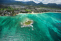 An aerial shot of Flat Island and Kailua Beach, with the Ko'olau Mountains in the distance, O'ahu.