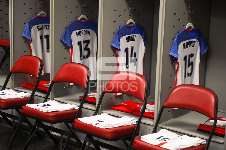 Commerce City, CO - Friday September 15, 2017: The U.S. Women's National team locker room during an International friendly match between the women's National teams of the United States (USA) and New Zealand (NZL) at Dick's Sporting Goods Park.
