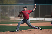 Arizona Diamondbacks relief pitcher Gabe Speier (15) delivers a pitch to the plate during a Minor League Spring Training intrasquad game at Salt River Fields at Talking Stick on March 12, 2018 in Scottsdale, Arizona. (Zachary Lucy/Four Seam Images)