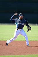 Seattle Mariners shortstop Rayder Ascanio (1) during practice before an Instructional League game against the Milwaukee Brewers on October 4, 2014 at Peoria Stadium Training Complex in Peoria, Arizona.  (Mike Janes/Four Seam Images)