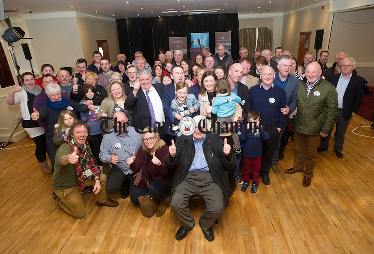 Joe Carey with his Dad Donal, family and supporters following election. Photograph by John Kelly.