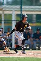 Pittsburgh Pirates right fielder Bligh Madris (7) follows through on a swing during a Florida Instructional League game against the Detroit Tigers on October 2, 2018 at the Pirate City in Bradenton, Florida.  (Mike Janes/Four Seam Images)