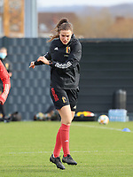 Silke Vanwynsberghe pictured during the training session of the Belgian Women's National Team ahead of a friendly female soccer game between the national teams of Germany and Belgium , called the Red Flames in a pre - bid tournament called Three Nations One Goal with the national teams from Belgium , The Netherlands and Germany towards a bid for the hosting of the 2027 FIFA Women's World Cup ,on 19th of February 2021 at Proximus Basecamp. PHOTO: SEVIL OKTEM | SPORTPIX.BE