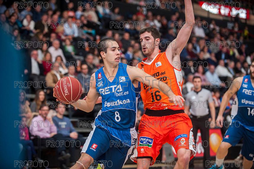 VALENCIA, SPAIN - NOVEMBER 22:  Guillem Vives, Andres Rico during Endesa League match between Valencia Basket Club and Retabet.es GBC at Fonteta Stadium on November 22, 2015 in Valencia, Spain