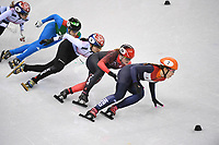 OLYMPIC GAMES: PYEONGCHANG: 22-02-2018, Gangneung Ice Arena, Short Track, A-Final 1000m Ladies, Arianna Fontana (ITA), Shim Sukhee (KOR), Kim Boutin (CAN), Suzanne Schulting (NED), ©photo Martin de Jong