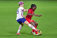 18th February 2021, Orlando, Florida, USA;  United States forward sophia Smith (17) battles with Canada forward Deanne Rose (6)  during a SheBelieves Cup game between Canada and the United States on February 18, 2021 at Exploria Stadium in Orlando, FL.