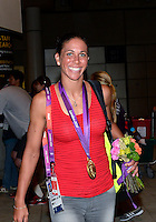 August 09, 2012: Shannon Boxx on her way to the team bus at the conslucion of women's Football Final match at the Wembley Stadium on day thirteen in Wembley, England. USA defeat Japan 2-1 to win it's third consecutive Olympic gold medal in women's soccer. ..