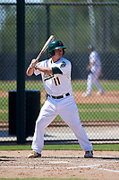 Oakland Athletics catcher Jordan Devencenzi (11) at bat during an Instructional League game against the Cincinnati Reds on September 29, 2017 at Lew Wolff Training Complex in Mesa, Arizona. (Zachary Lucy/Four Seam Images)