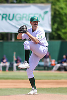 Beloit Snappers pitcher Bryce Conley (33) delivers a pitch during a Midwest League game against the Cedar Rapids Kernels on June 2, 2019 at Pohlman Field in Beloit, Wisconsin. Beloit defeated Cedar Rapids 6-1. (Brad Krause/Four Seam Images)