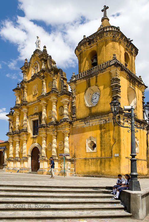 Steps leading up to the baroque Iglesia la Recoleccion, Leon, Nicaragua