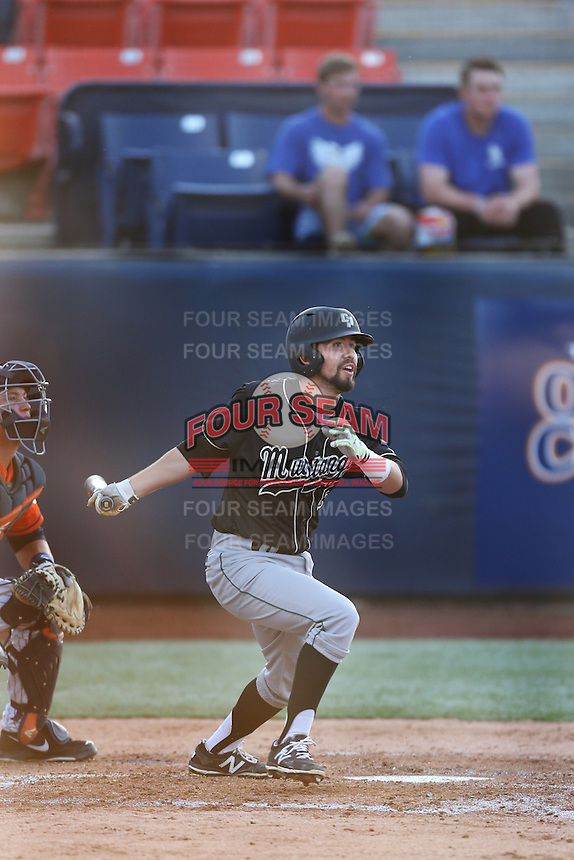 Peter Van Gansen (5) of the Cal Poly Mustangs bats during a game against the Cal State Fullerton Titans at Goodwin Field on April 2, 2015 in Fullerton, California. Cal Poly defeated Cal State Fullerton, 5-0. (Larry Goren/Four Seam Images)