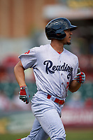 Reading Fightin Phils right fielder Jiandido Tromp (7) runs to first base during a game against the Erie SeaWolves on May 18, 2017 at UPMC Park in Erie, Pennsylvania.  Reading defeated Erie 8-3.  (Mike Janes/Four Seam Images)