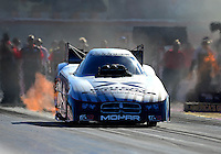 Oct. 26, 2012; Las Vegas, NV, USA: NHRA funny car driver Jack Beckman during qualifying for the Big O Tires Nationals at The Strip in Las Vegas. Mandatory Credit: Mark J. Rebilas-