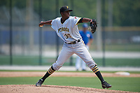 GCL Pirates relief pitcher Yeudry Manzanillo (30) delivers a pitch during a game against the GCL Blue Jays on July 20, 2017 at Bobby Mattick Training Center at Englebert Complex in Dunedin, Florida.  GCL Pirates defeated the GCL Blue Jays 11-6 in eleven innings.  (Mike Janes/Four Seam Images)