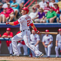 13 March 2016: Washington Nationals first baseman Clint Robinson in first inning action during a pre-season Spring Training game against the St. Louis Cardinals at Space Coast Stadium in Viera, Florida. The teams played to a 4-4 draw in Grapefruit League play. Mandatory Credit: Ed Wolfstein Photo *** RAW (NEF) Image File Available ***