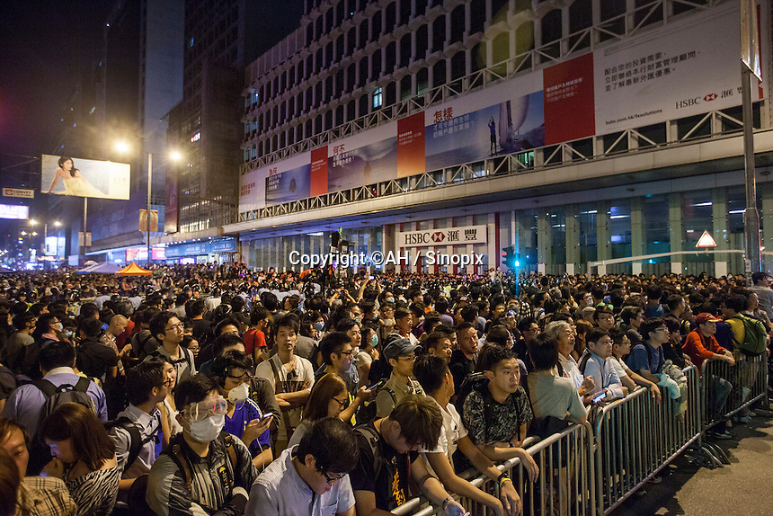 Pro-democracy protesters are seen reclaiming Nathan Road after the Hong Kong police lost control of Mong Kok, ceding the area back to the protesters, who had only just lost it to the police hours earlier in a pre-dawn raid, Mong Kok, Kowloon, Hong Kong, China, 18 October 2014.