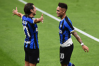 Lautaro Martinez of FC Internazionale (R) celebrates with Antonio Candreva after scoring the goal of 2-0 during the Serie A football match between FC Internazionale and UC Sampdoria at Stadio San Siro in Milano ( Italy ), June 21th, 2020. Play resumes behind closed doors following the outbreak of the coronavirus disease. <br /> Photo Image/Insidefoto