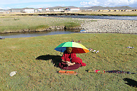 A young Tibetan monk in the town of Sershul on the Tibetan Plateau, in western China. The town is home to a large monastery which houses thousands of monks. The Sanjiangyuan or Three Rivers Headwater region of western China contains the sources of the Yangtze, Mekong and Yellow Rivers.