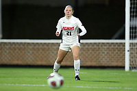 CHAPEL HILL, NC - NOVEMBER 16: Rachel Vernan #21 of Belmont University watches the ball during a game between Belmont and North Carolina at UNC Soccer and Lacrosse Stadium on November 16, 2019 in Chapel Hill, North Carolina.