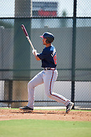 Atlanta Braves Drew Lugbauer (82) follows through on a swing a Florida Instructional League game against the Philadelphia Phillies on October 5, 2018 at the Carpenter Complex in Clearwater, Florida.  (Mike Janes/Four Seam Images)
