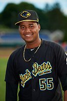 West Virginia Black Bears pitcher Miguel Hernandez (55) poses for a photo before a game against the Batavia Muckdogs on June 19, 2018 at Dwyer Stadium in Batavia, New York.  West Virginia defeated Batavia 7-6.  (Mike Janes/Four Seam Images)