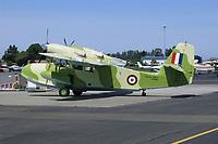 A Grumman G-44 Widgeon refuels at the Petaluma Municipal Airport, Petaluma, Sonoma County, California