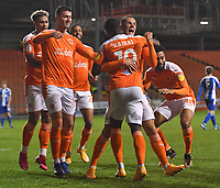 Blackpool's Sullay Kaikai is congratulated on scoring his team's opening goal<br /> <br /> Photographer Dave Howarth/CameraSport<br /> <br /> The EFL Sky Bet League One - Blackpool v Wigan Athletic - Tuesday 3rd November 2020 - Bloomfield Road - Blackpool<br /> <br /> World Copyright © 2020 CameraSport. All rights reserved. 43 Linden Ave. Countesthorpe. Leicester. England. LE8 5PG - Tel: +44 (0) 116 277 4147 - admin@camerasport.com - www.camerasport.com