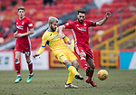 Aberdeen v St Johnstone…31.03.18…  Pittodrie    SPFL<br />Richie Foster is tackled by Graeme Shinnie<br />Picture by Graeme Hart. <br />Copyright Perthshire Picture Agency<br />Tel: 01738 623350  Mobile: 07990 594431