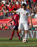 Spain midfielder Bruno Soriano (8) passes the ball. In a friendly match, Spain defeated USA, 4-0, at Gillette Stadium on June 4, 2011.
