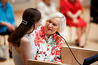 USA International Harp Competition Founder and Artistic Director Susann McDonald, right, and Executive Director Erin Brooker-Miller speak during the opening ceremony of the 11th USA International Harp Competition at Indiana University in Bloomington, Indiana on Wednesday, July 3, 2019. (Photo by James Brosher)