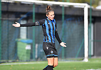 Brugge's Charlotte Laridon gestures during a female soccer game between the women teams of Club Brugge YLA Dames and Union Saint-Ghislain Tertre-Hautrage Ladies on the 1/16 th qualifying round for the Belgian Womens Cup 2020  2021 , on saturday 26 th of September 2020  in Brugge , Belgium . PHOTO SPORTPIX.BE | SPP | DAVID CATRY