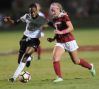 NWA Democrat-Gazette/ANDY SHUPE<br /> Arkansas' Katie Kienstra (right) and Vanderbilt's Sasha Gray vie for the ball Thursday, Oct. 6, 2016, during the second half of play at Razorback Field in Fayetteville. Visit nwadg.com/photos to see more photographs from the game.