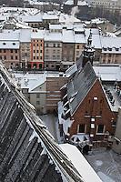 Europe/Voïvodie de Petite-Pologne/Cracovie:   Place de Notre-Dame et église Sainte-Barbe vues depuis le clocher de l'église Notre Dame -- Vieille ville (Stare Miasto) classée Patrimoine Mondial de l'UNESCO,