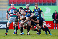 6th February 2021; Mattoli Woods Welford Road Stadium, Leicester, Midlands, England; Premiership Rugby, Leicester Tigers versus Worcester Warriors; The Leicester Tigers defence attempts to hold up Chris Pennell of Worcester Warriors in a tackle