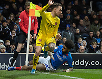 Fleetwood Town's Barrie McKay (left) is tackled by Portsmouth's Ellis Harrison (right) <br /> <br /> Photographer David Horton/CameraSport<br /> <br /> The EFL Sky Bet League One - Portsmouth v Fleetwood Town - Tuesday 10th March 2020 - Fratton Park - Portsmouth<br /> <br /> World Copyright © 2020 CameraSport. All rights reserved. 43 Linden Ave. Countesthorpe. Leicester. England. LE8 5PG - Tel: +44 (0) 116 277 4147 - admin@camerasport.com - www.camerasport.com