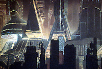 "Utopia:  City of Tomorrow, ""Blade Runner"".  ""Los Angeles in 2019 AD""--matte painting by Matthew Yuricich after design by Syd  Mead, 1981."