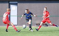 Charlotte Cranshoff (18) of Standard and Gwyneth Vanaenrode (3) of Standard  pictured defending on Angel Kerkhove (11) of Club Brugge during a female soccer game between Club Brugge Dames YLA and Standard Femina de Liege on the 17 th matchday of the 2020 - 2021 season of Belgian Scooore Womens Super League , saturday 20 March 2021  in Brugge , Belgium . PHOTO SPORTPIX.BE   SPP   DAVID CATRY