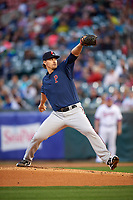 Pawtucket Red Sox starting pitcher Justin Haley (19) delivers a pitch during a game against the Buffalo Bisons on August 31, 2017 at Coca-Cola Field in Buffalo, New York.  Buffalo defeated Pawtucket 4-2.  (Mike Janes/Four Seam Images)