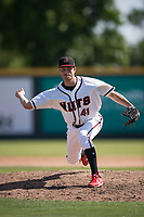Modesto Nuts relief pitcher Wyatt Mills (41) delivers a pitch to the plate during a California League game against the Lake Elsinore Storm at John Thurman Field on May 13, 2018 in Modesto, California. Lake Elsinore defeated Modesto 4-3. (Zachary Lucy/Four Seam Images)